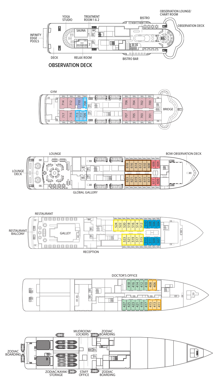 Cabin layout for National Geographic Endurance