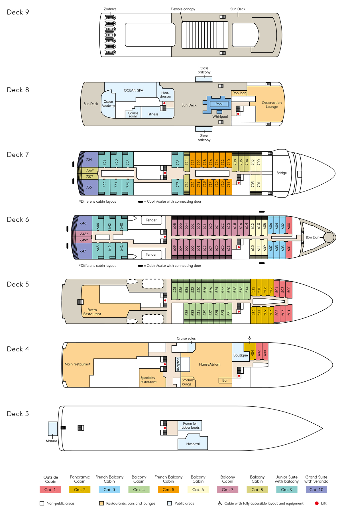 Cabin layout for Hanseatic Inspiration