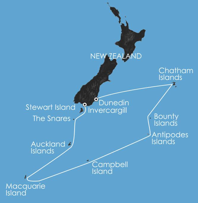 Map for Subantarctic Islands: Birding Down Under 2019