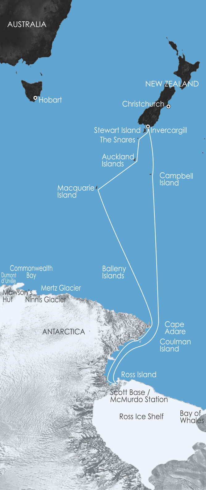 Map for Ross Sea - In the Wake of Scott and Shackleton 2020 (Akademik Shokalskiy)