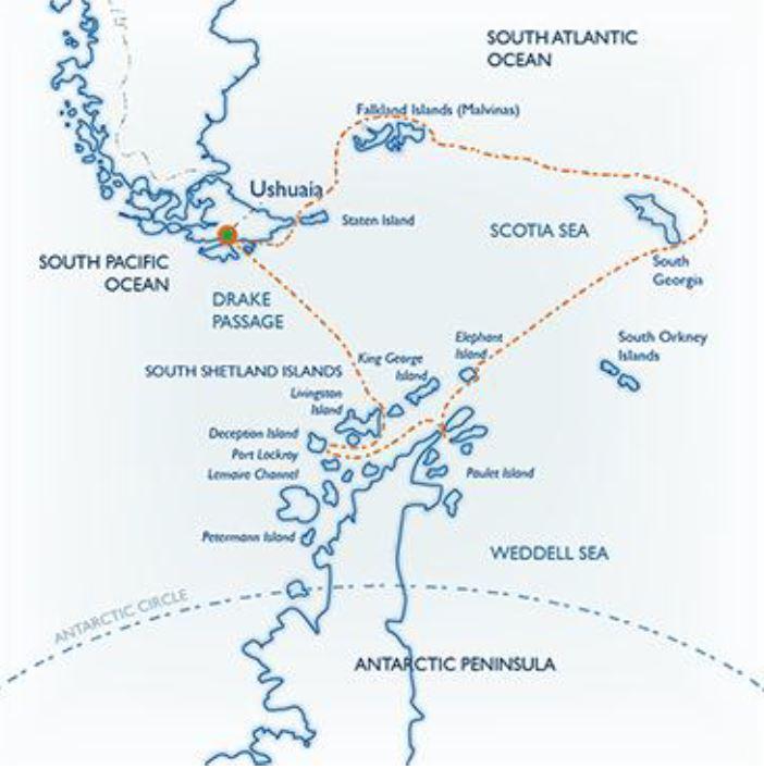 Map for Classic South Georgia & Antarctica