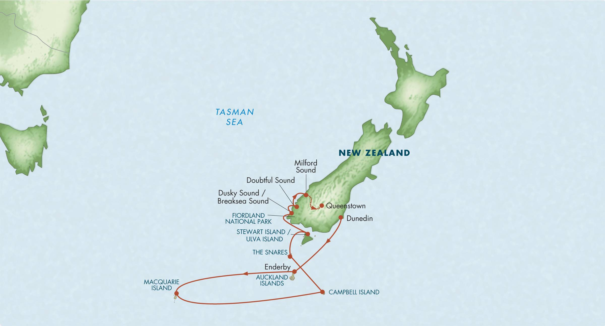 Map for Sub-Antarctic Islands of New Zealand