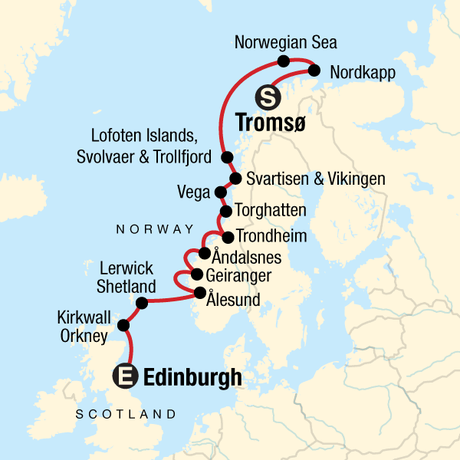 Map for Norwegian Fjords & Scottish Islands: Tromso to Edinburgh
