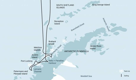 Map for Antarctica - Whale Watching Voyage (Hondius)