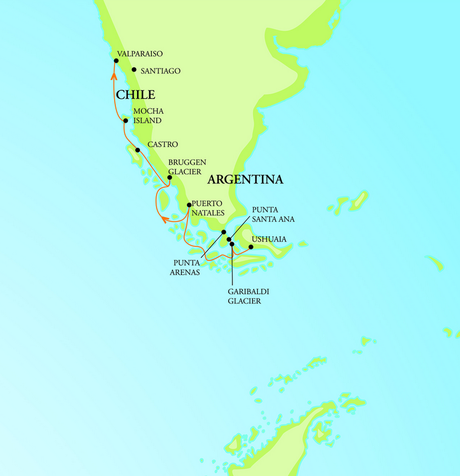 Map for Chilean Fjord Adventure (RCGS Resolute)
