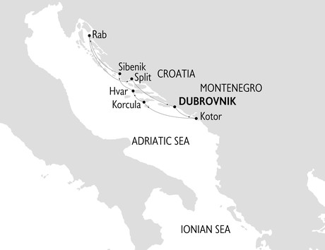 Map for The Dalmatian Coast & Montenegro
