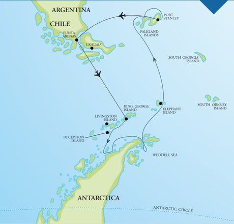 Map for Ultimate Christmas in Antarctica Weddell Sea & Falkland Islands