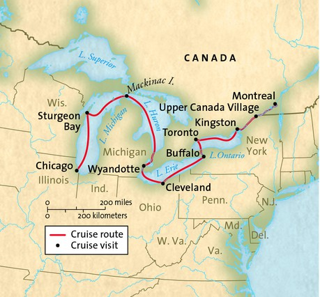 Map for Chicago to Montreal (Grande Caribe)