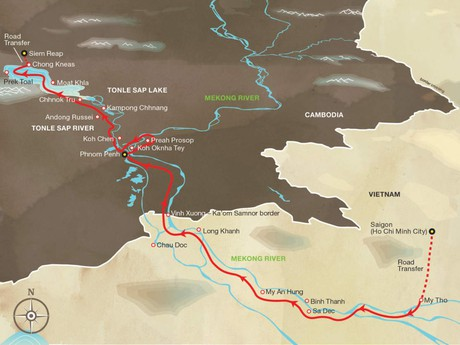 Map for Aqua Mekong Expedition Cruise