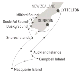 Map for Fiordland and the Sub Antarctic Islands Expedition - with Nat Geo