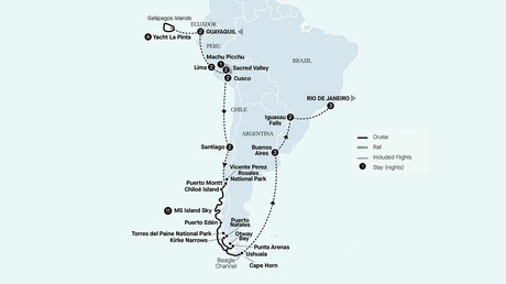 Map for Best Of South America & Galápagos With Patagonia & Chilean Fjords