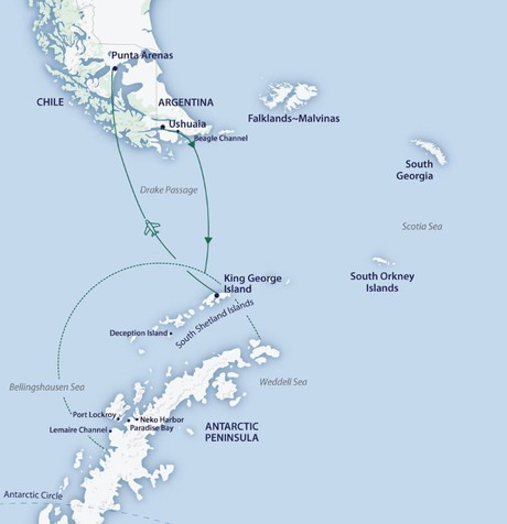 Map for Across the Antarctic Circle Fly Cruise (Greg Mortimer)