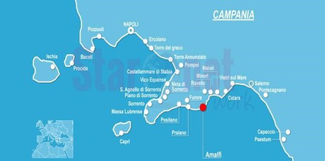 Map for Amalfi Coast Gulet cruise