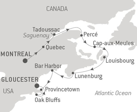 Map for From the St. Lawrence River to the American East Coast with Ponant