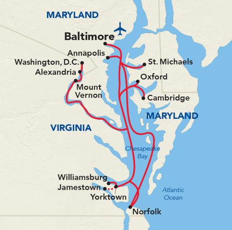 Map for American Revolution Cruise