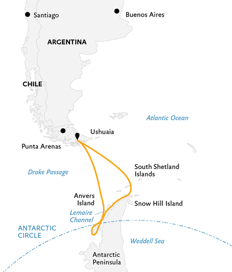 Map for Crossing the Antarctic Circle (Ocean Diamond)