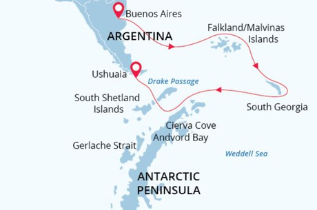 Map for Antarctic Wildlife Adventure - 23 Days