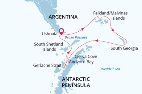 Map for Antarctic Wildlife Adventure - 21 Days