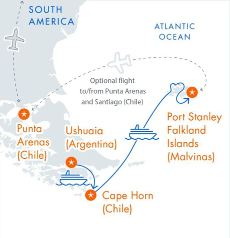 Map for Cape Horn & The Falkland Islands Voyage