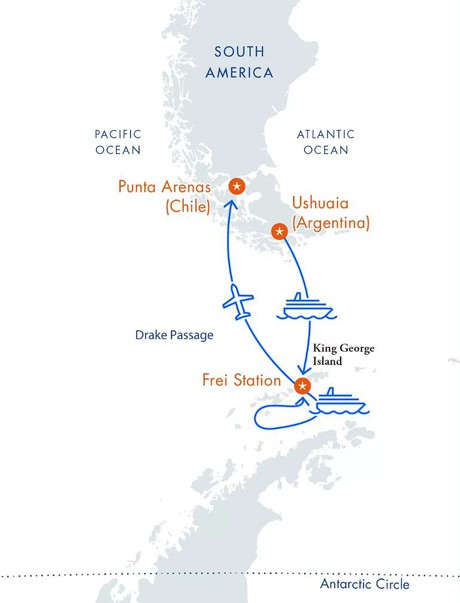 Map for Antarctica Express Air-Cruise (Magellan Explorer)