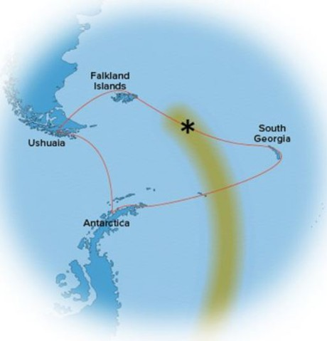 Map for Antarctica, South Georgia & the Falklands - Solar Eclipse (NG Endurance)