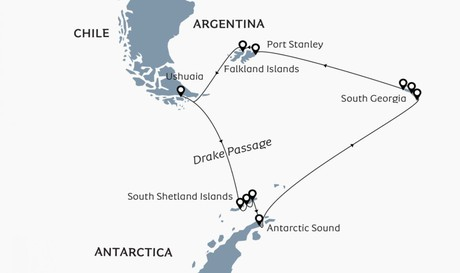 Map for Antarctica, South Georgia & Falkland Islands aboard Ocean Victory
