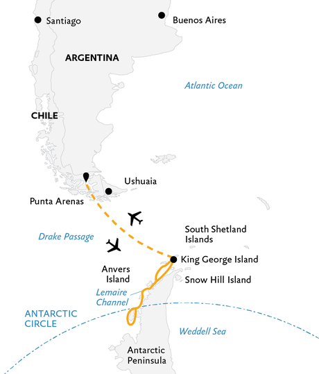 Map for Antarctic Express: Crossing the Circle (Ocean Adventurer)
