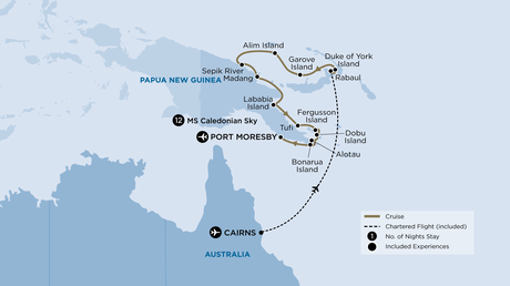 Map for Papua New Guinea (Caledonian Sky)
