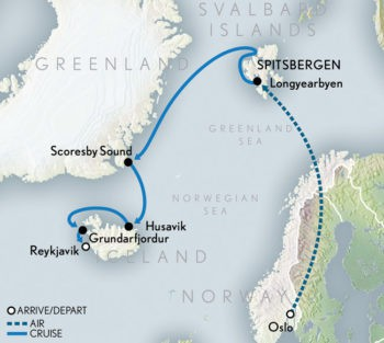 Map for Arctic Cruise Adventure: In Search of the Polar Bear