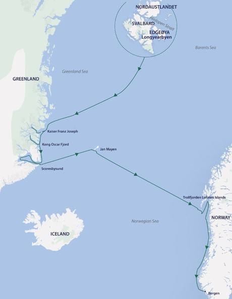 Map for Arctic Discovery aboard Greg Mortimer