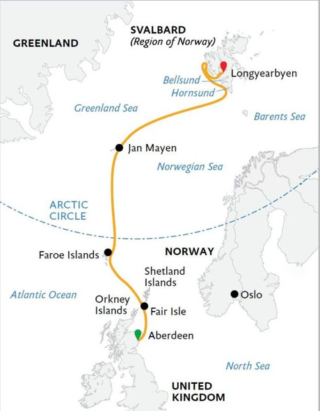 Map for Arctic Saga: Exploring Spitsbergen via the Faroes & Jan Mayen