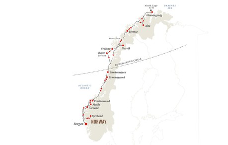 Map for Arctic Winter and Northern Lights Expedition: Bergen - North Cape - Bergen