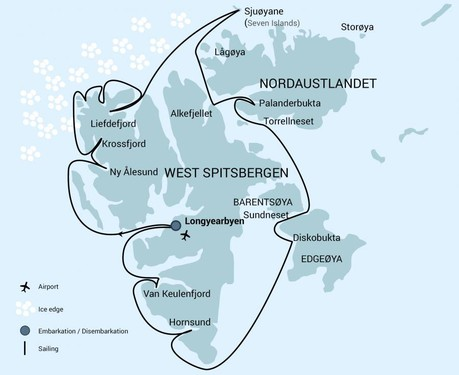 Map for Around Spitsbergen aboard Plancius