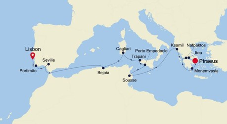 Map for Athens to Lisbon Expedition (Silver Cloud)