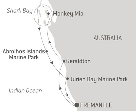 Map for Australia's West Coast with Ponant