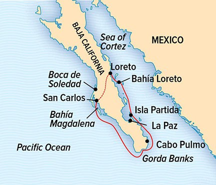 Map for Baja California and the Sea of Cortez