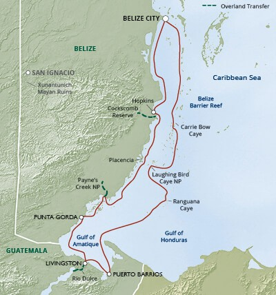 Map for Belize & Guatemala Wonders—Rivers, Reefs & Cultures