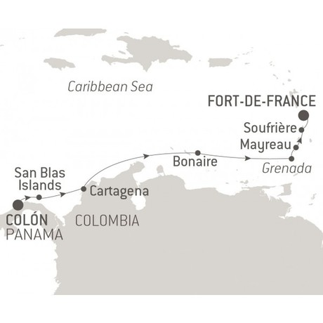 Map for Between Panama & Martinique
