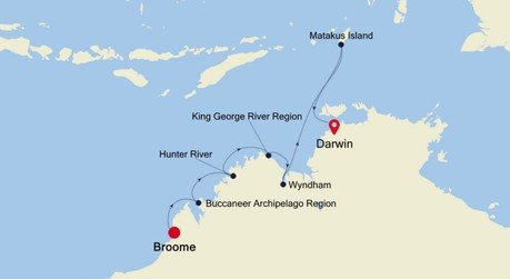 Map for Broome to Darwin Expedition (Silver Explorer)