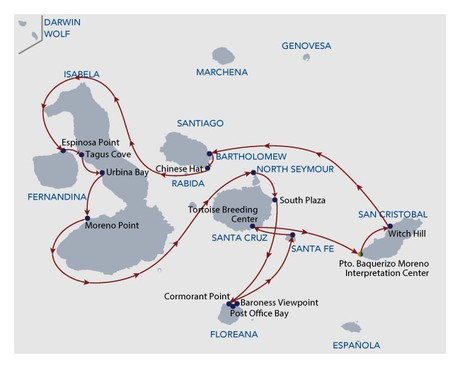Map for Galapagos Naturalist Cruise 8 Days (Calipso)