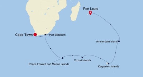Map for Cape Town to Port Louis Expedition (Silver Cloud)