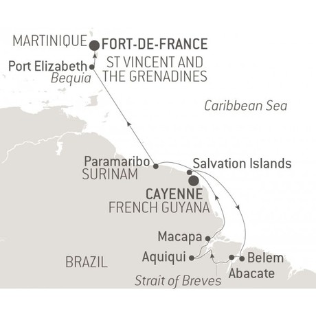 Map for The Caribbean & Amazon River