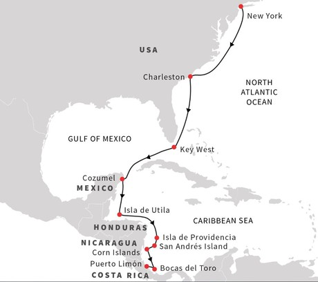 Map for Caribbean Sea – From New York to Puerto Limon