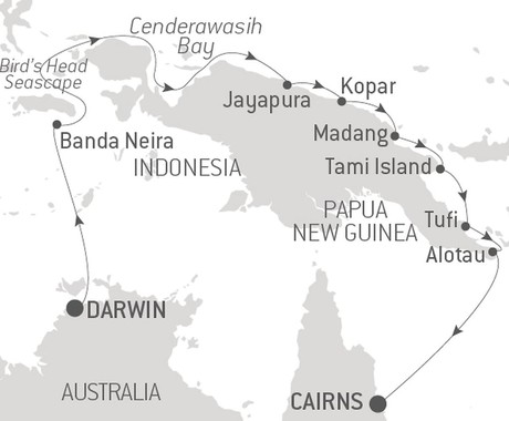 Map for Chairman's Cruise - New Guinea Odyssey (Le Bellot)