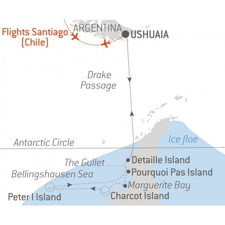 Map for Expedition to Charcot & Peter I Islands - with National Geographic