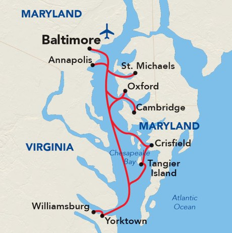 Map for Chesapeake Bay Voyage