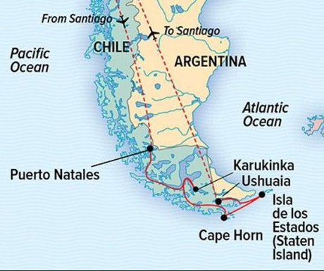 Map for Chilean Fjords and Argentina's Staten Island