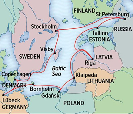 Map for Circumnavigating the Baltic Sea with National Geographic