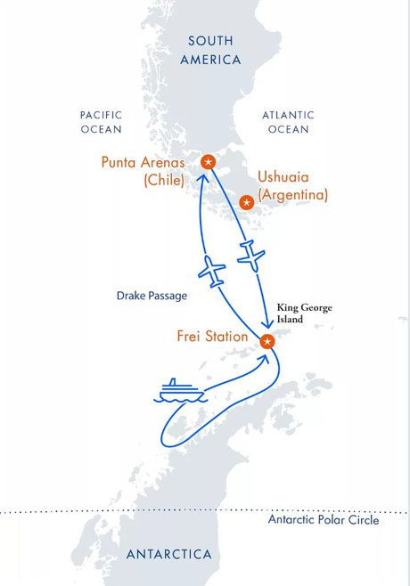 Map for Classic Antarctica Fly Cruise aboard Hebridean Sky