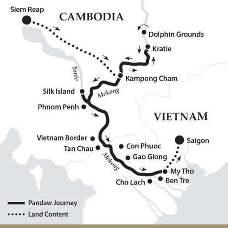 Map for Classic Mekong - Downstream (Tonle Pandaw)